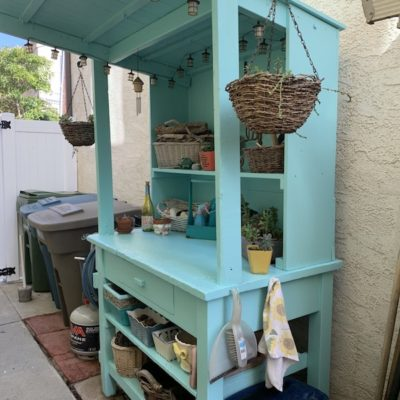 DIY Painted Potting Bench